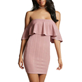 Women's High Fashion Flounce Strapless Bodycon Mini Cocktail Dress with OEM Service