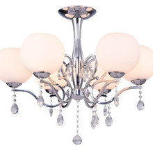 Wholesale Hemp Retro Glass Chandelier modern 6-Light Chandeliers chrome Pendant Lighting