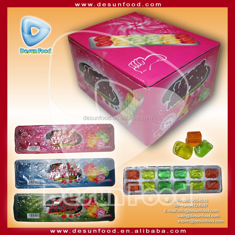 2016 new 12PCS colorful mini jelly cube with mix fruit flavors jelly manufacturer