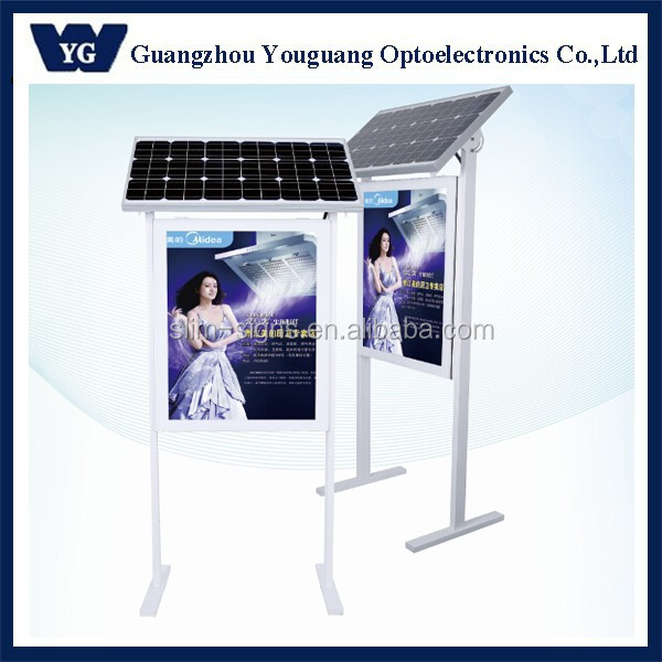 Solar outdoor advertising sign LGP edgelit solar powered advertising panel