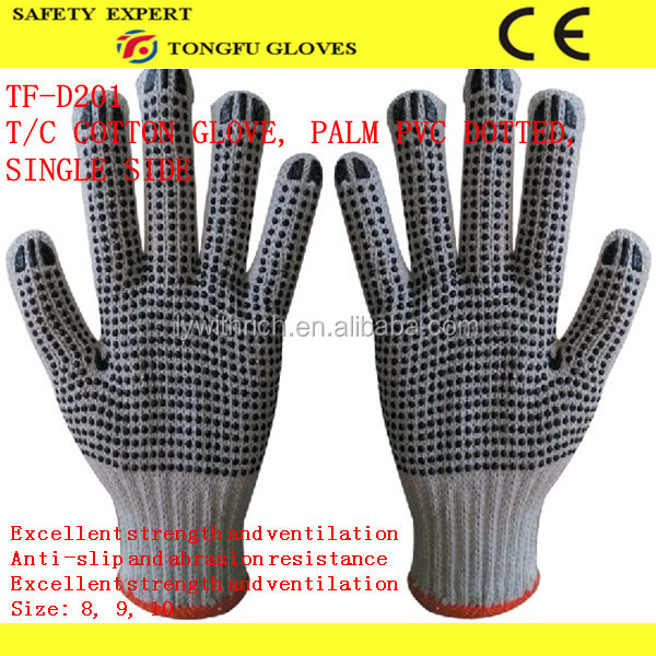 7G Natural White Polyester/Cotton Knitted Fingerless Glove with 2-side Black PVC Dots PVC Dotted Cotton Work Glove EN388