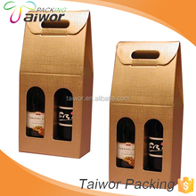 Wholesale Customized Cardboard Kraft Paper Window Two Bottle Wine Box Carrier
