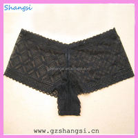 Black sexy lace see through boxer panty for woman