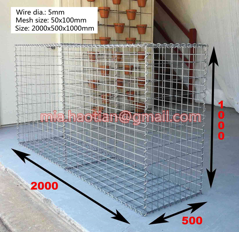 2000x500x1000mm size welded gabion for stone wall Hot dipped galvanized decorative gabion basket cages