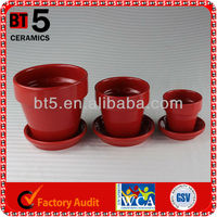 Ceramic color garden flower pot set