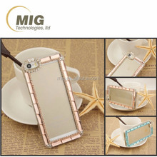 For samsung galaxy s6 transparent PC clear crystal Mobile phone cover with diamond around For iphone 5 6 6 plus case