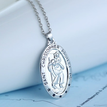 Oval pendant necklaces vintage saint christopher protect us hand stamped pendant necklace antique necklace with initial