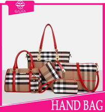 Hot sale fashion plaid High quality private label China bag leather brand handbags luxury designer handbag for women/lady