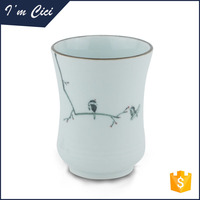 Custom printed black bird white ceramic cup- CC-C041
