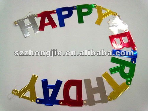 foil lamination happy birthday letter banner
