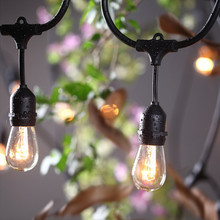 Outdoor Garden Suspended S14 Led Globe Ball Edison Bulbs 48Ft E27 Connectable Waterproof Patio Rope Festoon String Belt Lights