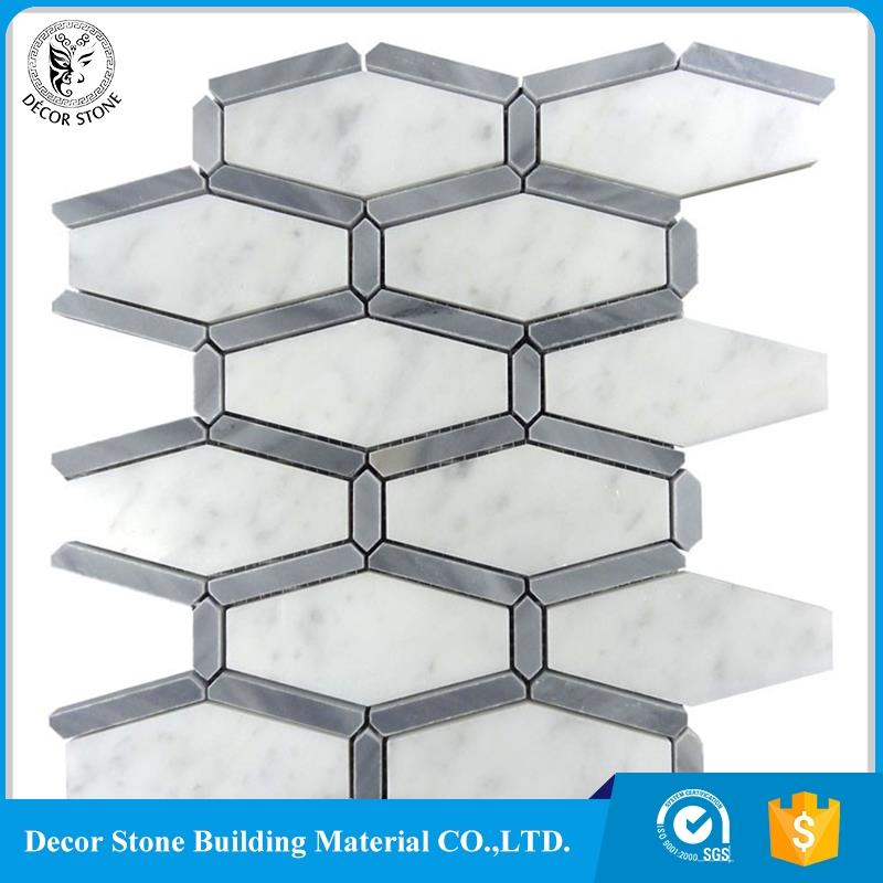 Italy Carrara White And Grey Marble Polished Hexagon Mosaic Wall Tile