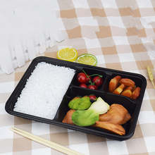 2019 Amazon Hot Sale New Product Food Container 4 Compartment 300 Sets Disposable Plastic Storage Bento Lunch Box With <strong>Flat</strong> Lids