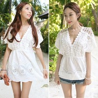 Hot Sale Women V Neck Hollow High Waist White Casual Wear Dresses Sv022758