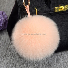 2017 colorful rabbit fur key chain accessories , pom pom