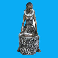 12 Inch Silver African Lady Figurine