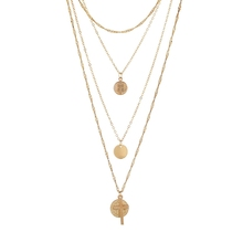 Gold Plated New Three Coin Design Cross Pendant Necklaces Women Accessories Fashion Long Layered Necklace