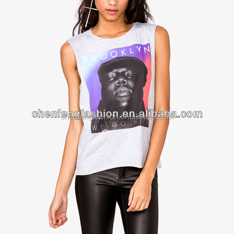 CHEFON Brooklyn We Go Hard Graphic Muscle Tee for Women CB0588