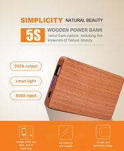 2017 Premium Smartful 6000mAh Wooden USB Power Bank Quick Charge Portable Charger Power Supply for All Smart Phone