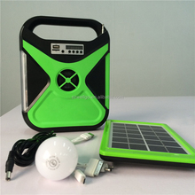 Portable Mini solar power lighting off grid Home solar energy system with USB radio and Bluetooth Speaker