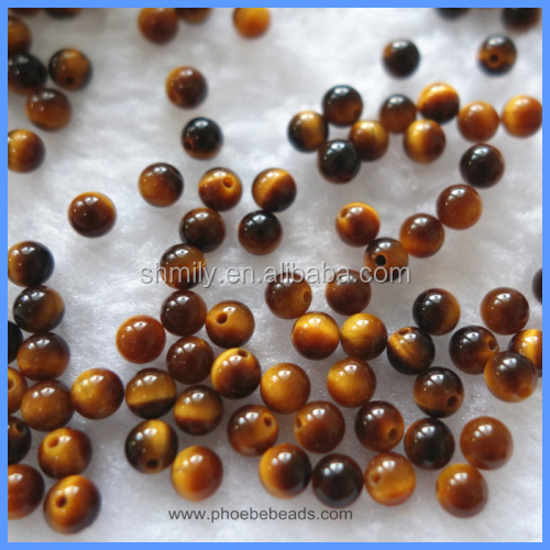 4mm 8mm Half Drilled Smooth Round Natural Yellow Tiger Eye Loose Beads Gemstone For DIY Earrings Making HD-YTSR4mm