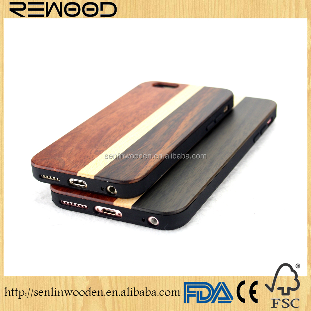 Real wood factory eco friendly personalized wooden cell phone case for 6/6s, handmade wooden case