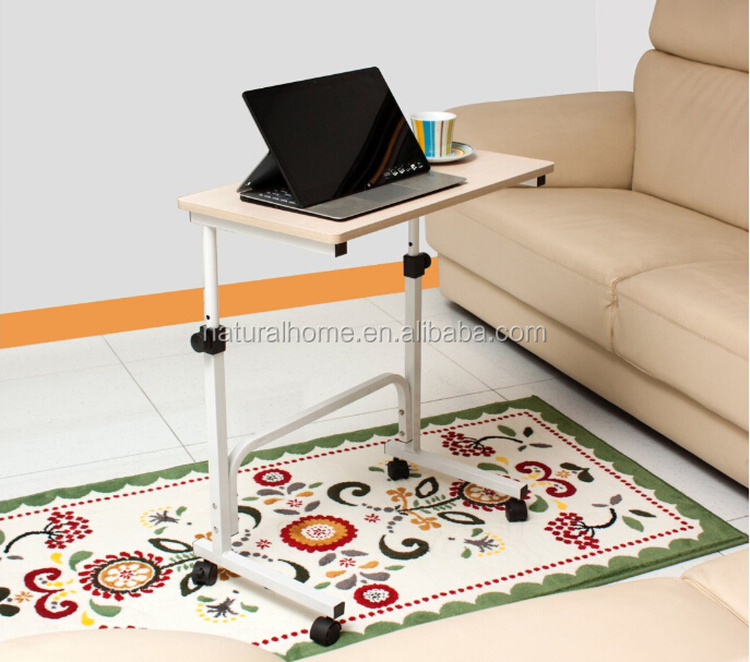 living room furniture space saving adjustable modern coffee laptop table wood side table with wheels