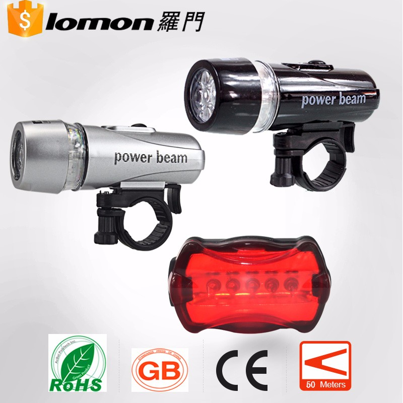 Waterproof Mountai Bicycle Accessories 5 LED Plastic Bike Front Light with Clip