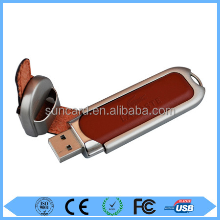 Custom design brown usb disk leather with low price