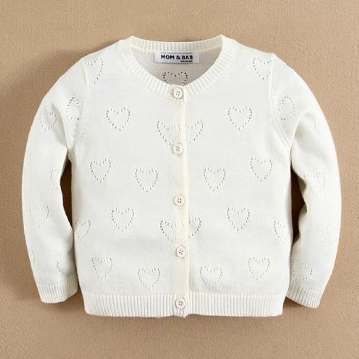 White Baby Sweaters White Kids Sweaters White Children Cardigans Children Clothes 100%Cotton Knit