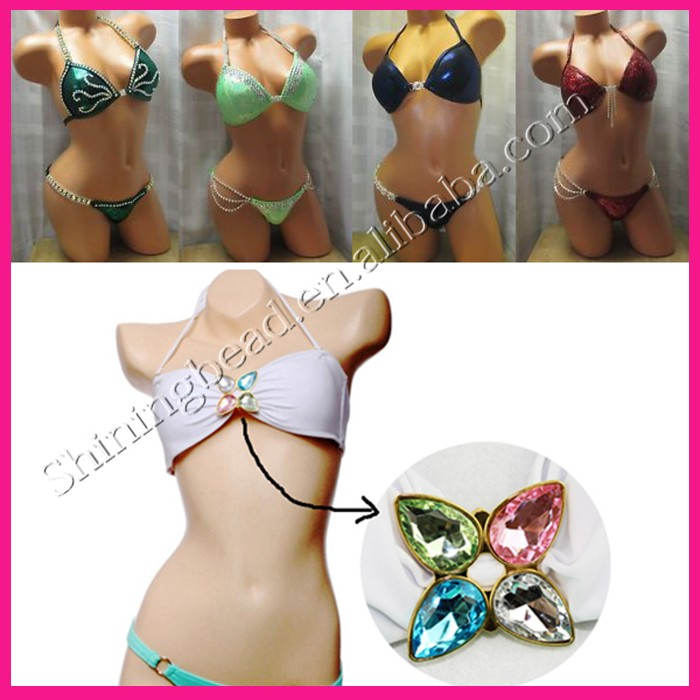 New Style T Shape Crystal Diamond Silver Metal Bikini Connectors Chain There Rows Swimwear Buckle