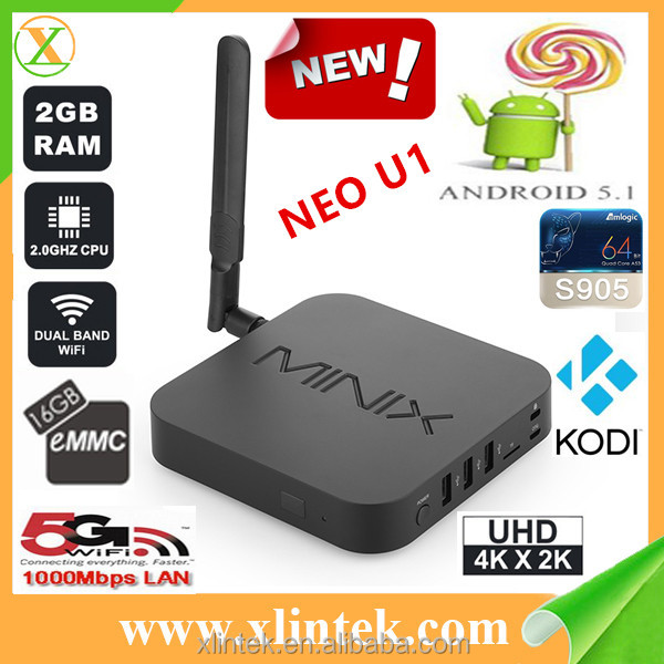 Minix factory directly selling android 5.1 tv box,bluetooth 4.1 amlogic s905 quad core android tv box Minix NEO U1
