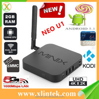 newest android 5.1 tv box,bluetooth 4.1 amlogic s905 quad core android tv box Minix NEO U1