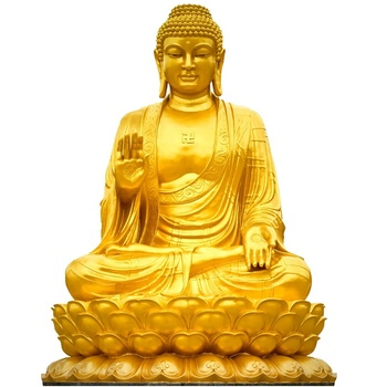 Artificial meditating metal brass buddha with lotus pedestal statue