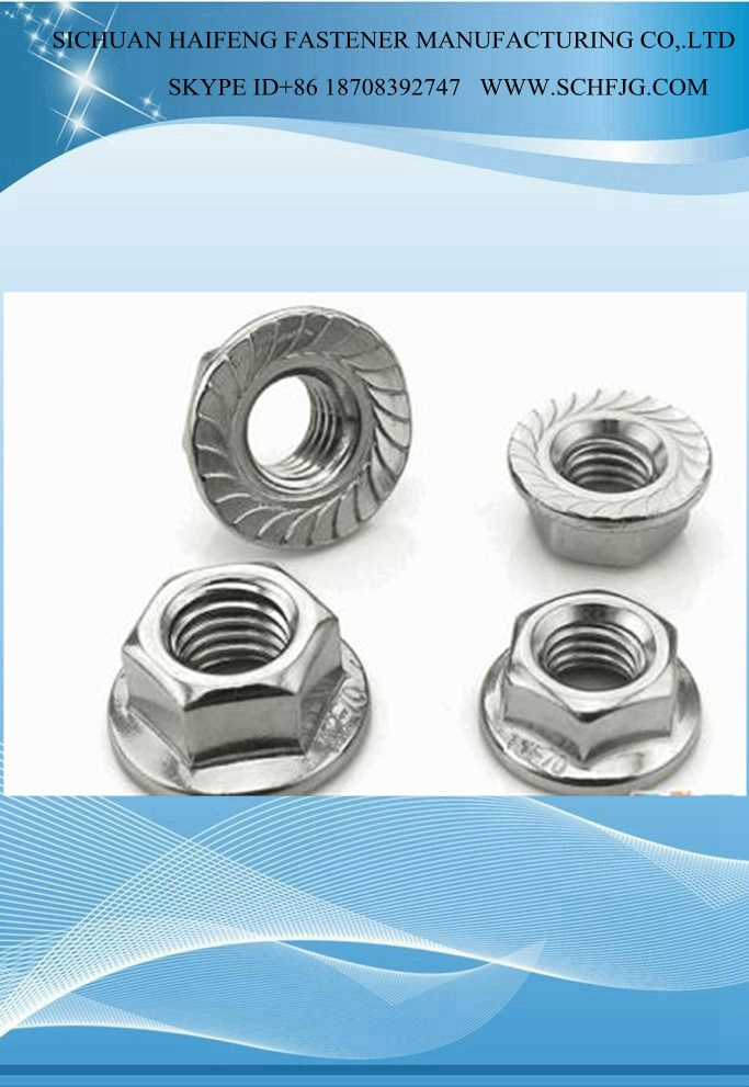 Factory Direct Standard Galvanized Hexagon nuts with flange