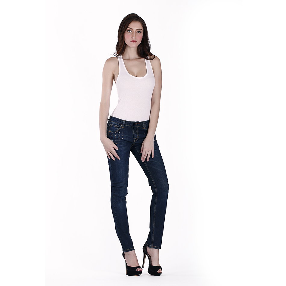 newest model pencil women jeans very light moustache effect front pocket design with wonderful pearls slim fit jeans for girl