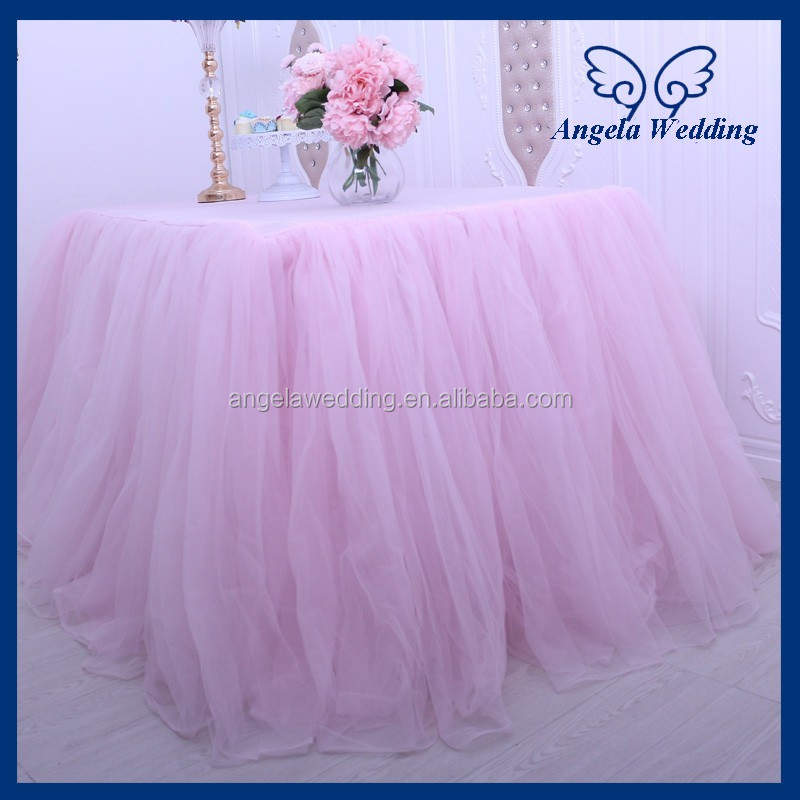 SK005D New arrival popular amazing bridal ruffled wedding pale pink light pink tulle table skirt