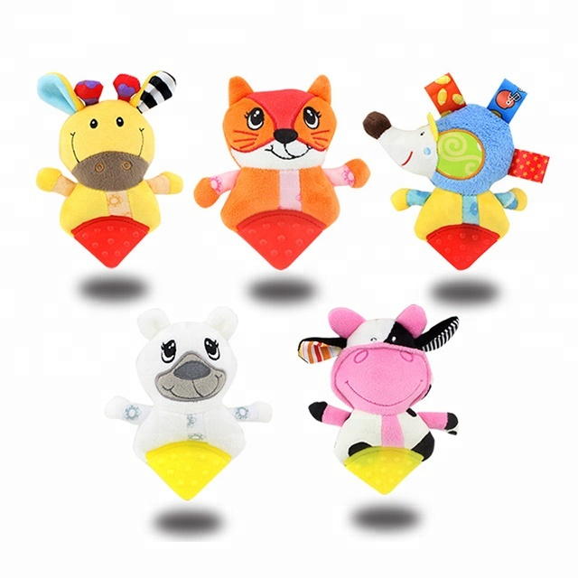 Dolery kids toys 3 months teething toy rattles safe soft plush teether for 0-12months baby toys