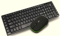 USB port green and black color keyboard and mouse combo
