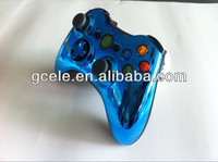 For Xbox 360 Slim Controller Chrome Shell with Black Inserts and Buttons
