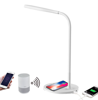 WIFI LED table lamp with 5W wireless charge and 5V1.5A USB output for mobile