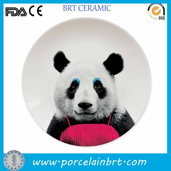 Customized pattern round white ceramic Animal Plate wholesale