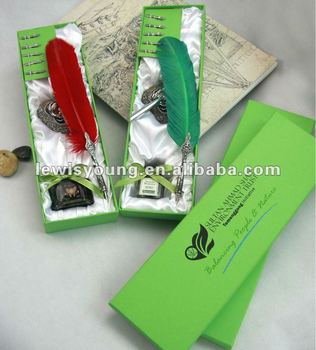 special gift with best wishes for lover bird feather pen