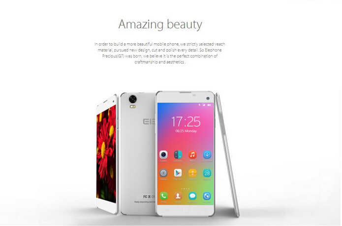 Ultra Slim Android Smart Phone 5.5 Inch Android Phone MTK6592 Octa Core Phone Androd 4.4 GPS WCDMA 3G Elephone G7