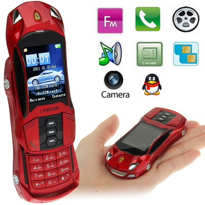 Car shape model F8 Red Slide Metal Material Mobile Phone Bluetooth FM Function dual sim GSM900 1800MHZ smallest Car mobile phone