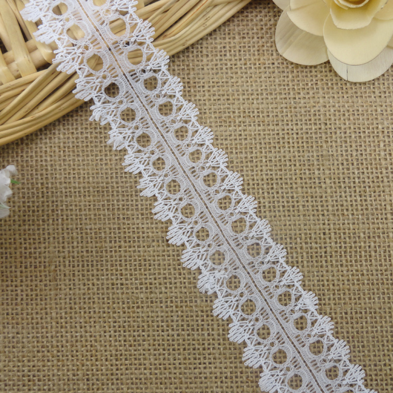 Eyelet 4cm wide white nylon rigid lace trimmings