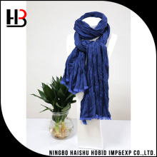 Mens long blue fold cotton crinkle scarves