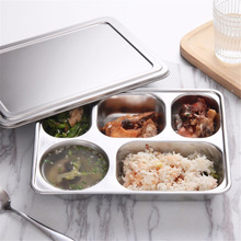Stainless Steel Divided Lunch Food Serving dinner set Tray & Cover Restaurant Canteen Tableware