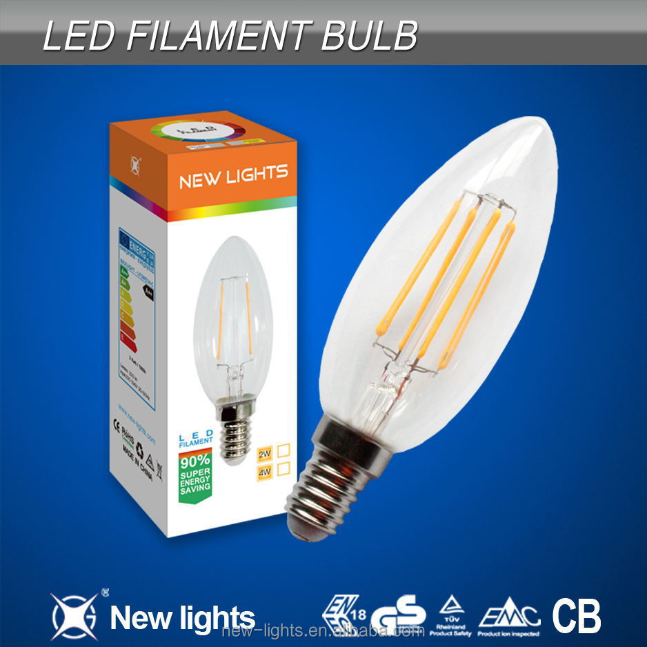 4W E14 E27 B22 C35 candle light filament led <strong>bulb</strong> with glass housing