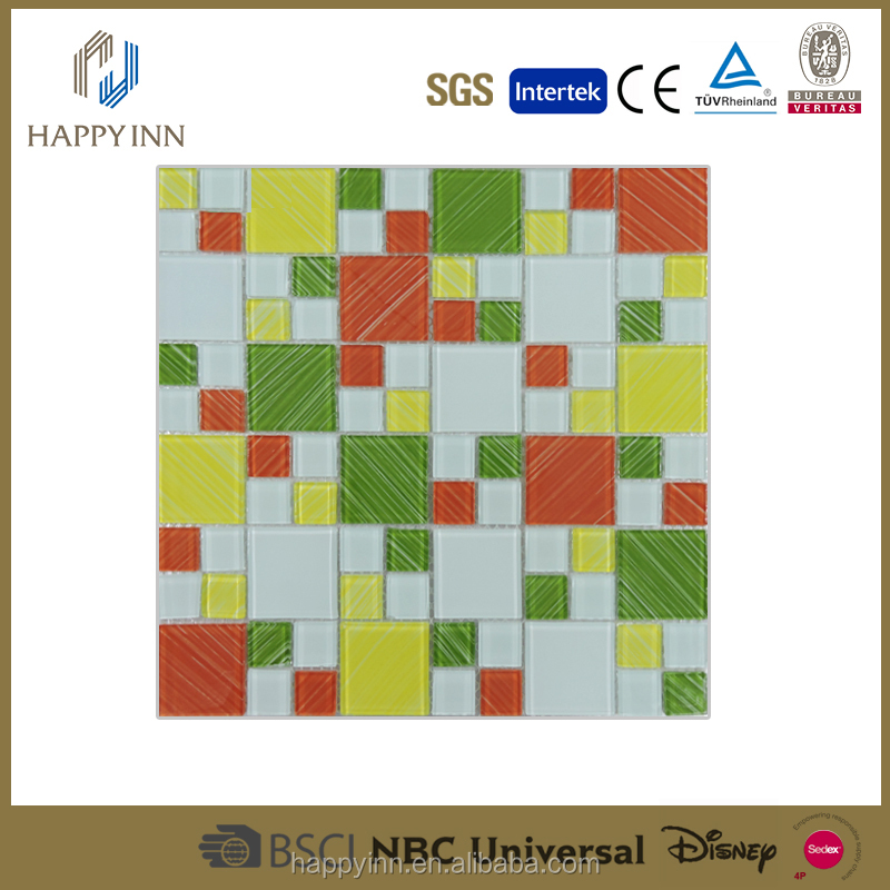 hot sale colorful glass mosaic red yellow green color mosaic gold color glass mosaic tile